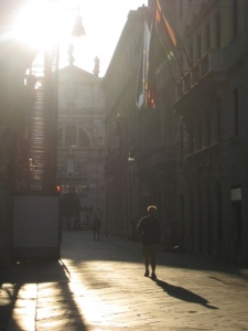 Sunrise on a street in Venice